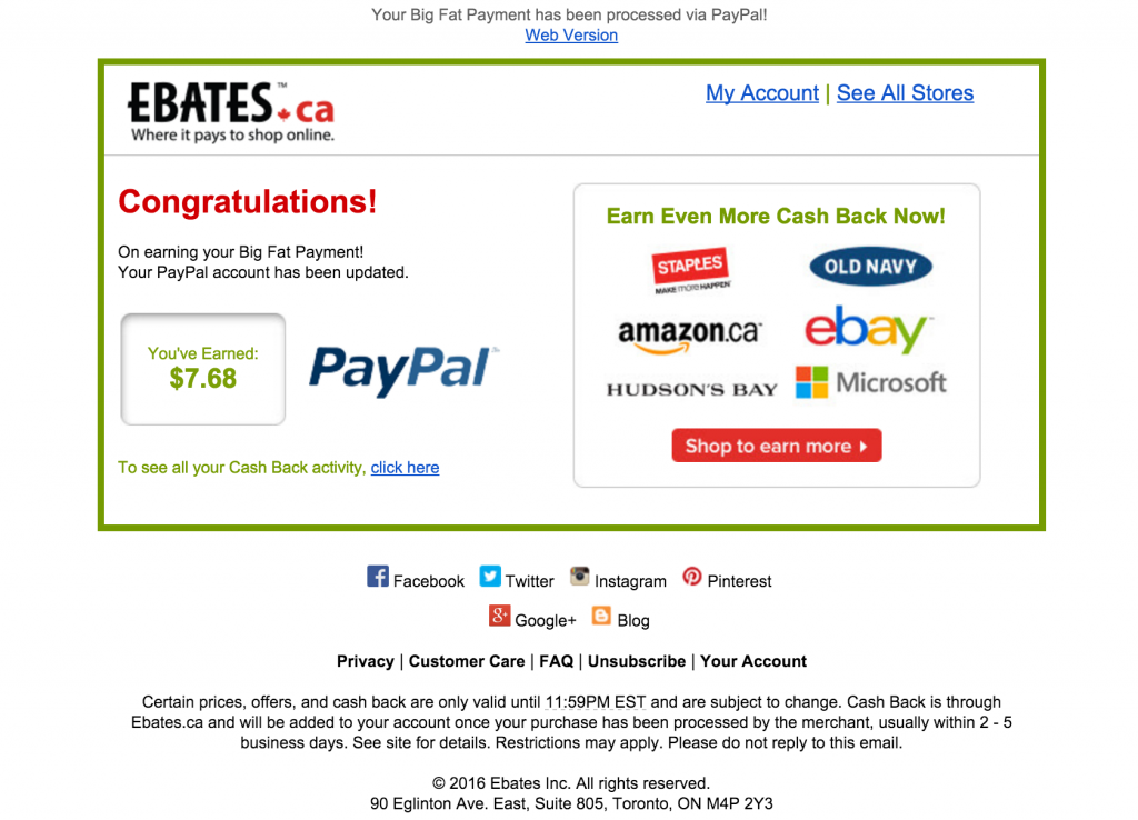 Proof that Ebates does in fact pay.